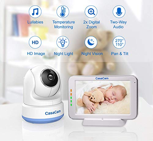 CasaCam BM200 Video Baby Monitor with 5 Touchscreen and HD Pan Tilt Camera, Two Way Audio, Lullabies, Nightlight, Automatic Night Vision and Temperature Monitoring Capability 1-cam kit
