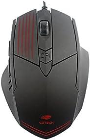 Mouse C3 Tech Gamer Mg-10BK 2400DPI 6B USB Led - Preto