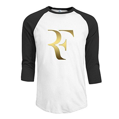 Fashion Men's Roger Tennis Federer Logo Tshirt Black [Size M