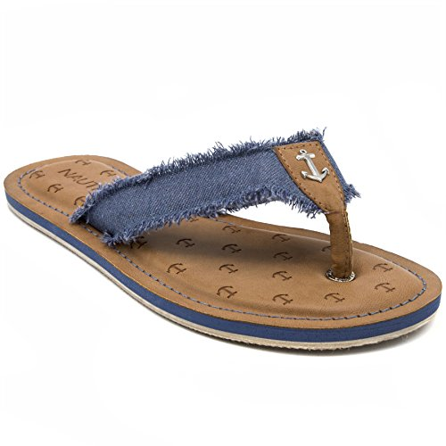 3d Flip Flop Sandal - Nautica Womens Gulf Breeze Fabric Strap Flip Flop, Beach Sandal Frayed Denim-7.5