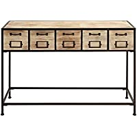 Benzara Console Table with Bright Light Wood Finish and Metal Leg, Brown