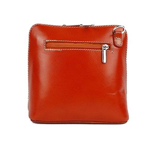 Piel italiana para pequeño Cruz Cuerpo Bolso o bolsa de hombro, azul (azul) - PS14 orange, tangerine