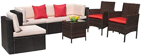 VICTONE 7 Pieces Patio Furniture Sets All Weather Sectional Sofa Wicker Rattan Patio Conversation Set