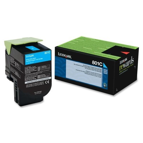 Lexmark International, Inc - Lexmark 801C Cyan Return Program Toner Cartridge - Cyan - Laser - 1000 Page - 1 Each