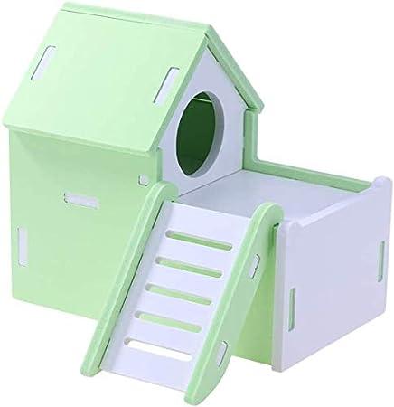 EliteJJ Hamster Casas y escondites-Madera Hamster Casa Jerbo Casa de Dos Pisos de Escalera Villa Pequeño Animal de compañía Dormir de ocultación House