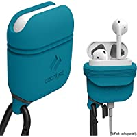 Catalyst Airpods Case - Shock Drop Proof air pods Protective Cover Waterproof Soft Skin, Anti-lost carabiner, Silicone sealing, Hassle free charging -Quality apple headphones accessories,Glacier Blue
