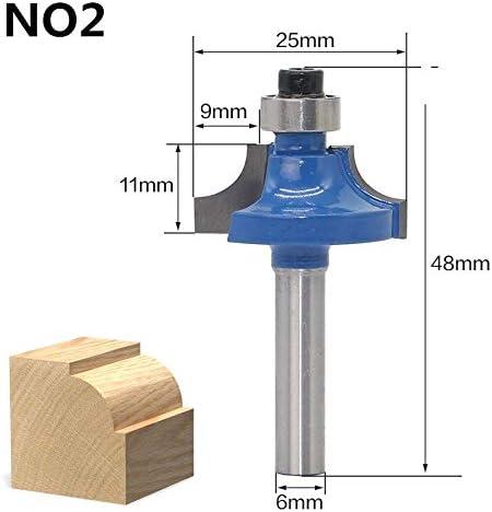 ZZB-ZT, 1 stück 6mm Schaft Ecke runde über Kanten fräser for die holzbearbeitung 2 flöte schaftfräser mit Lager fräser (Size : NO2)