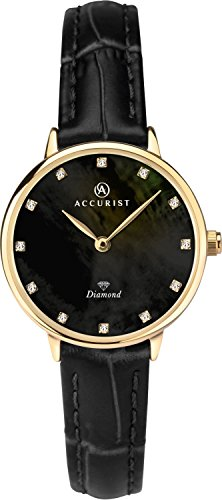 Accurist Ladies Analogue Quartz Watch With Black Mother Of Pearl Diamond Set Dial And Black Leather Strap 8211