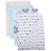 Aden by Aden + Anais Classic Swaddle Baby Blanket, 100% Cotton Muslin, Large 44 X 44 inch, 4 Pack, Pretty Pink- Medallion