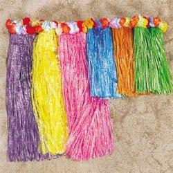 1 X Kid's Flowered Green Luau Hula Skirts (3 Pcs) w/Floral Waistbands