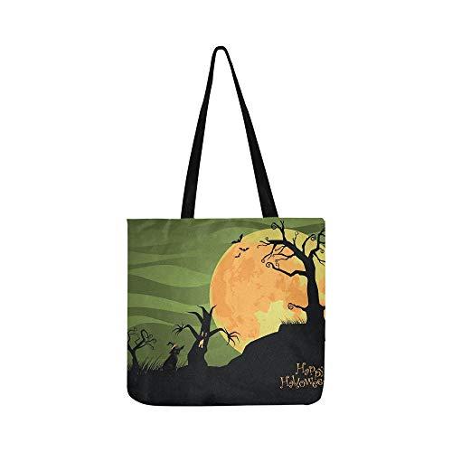 Creepy Halloween Trees Cat Jpg Canvas Tote Handbag Shoulder Bag Crossbody Bags Purses For Men And Women Shopping Tote -