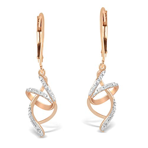 (10K Rose Gold 1/10 Carat Round-Cut (H-I Color, I2 Clarity) Natural Diamond Earrings for Women)