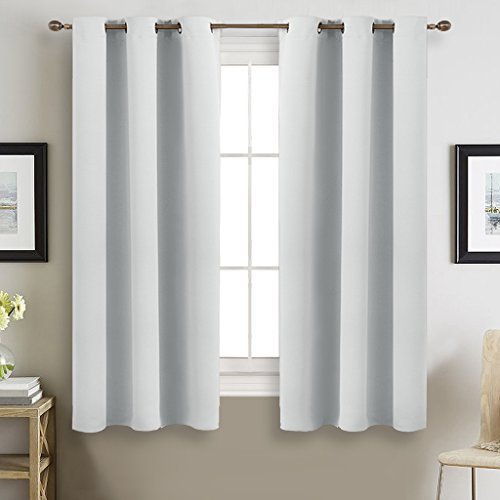 Room Darkening Curtains and Draperies for Kitchen - NICETOWN Window Treatment Thermal Insulated Grommet Room Darkening Curtain Panels (2 Pieces, 42 by 63, Greyish White) - Custom Home Theater Furniture