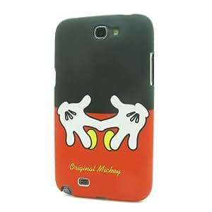 Rojo Mickey Mouse Cubierta de la caja plástica dura de Shell protector para Samsung Galaxy Note 2 II N7100 with CableCenter Cable Tie