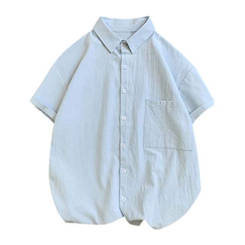 Shirts Big & Tall Short-Sleeve Summer Men's Trend Loose Solid Color Pocket Button Lapel Half Sleeve Shirt Top (3XL,Blue)