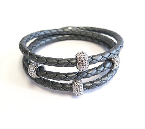 - Liza Schwartz Jewelry SOBE Bedazzle Triple Wrap Leather Bracelet (Silver)