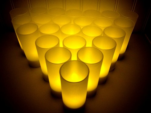 Bluedot Trading 24pc Amber Rechargeable LED Tea Light Candles Set with - Station Luminary Reception