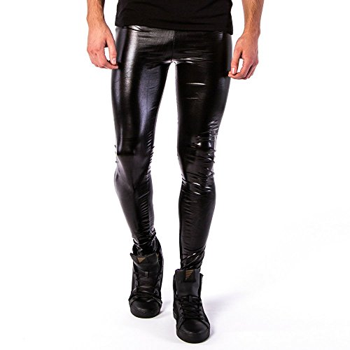 Kapow Meggings Men's Metallic Range Leggings - Holographic, Wet Look & Glitter (Nightrider Pleather - Black, Large)