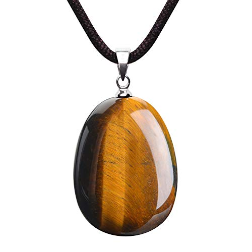 iSTONE Natural Gemstone Tiger Eye Tear Drop Pendant Necklace 18'' Unisex