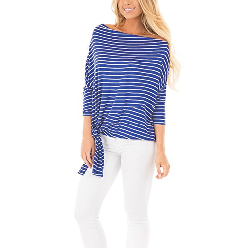 EverChic Womens Striped Off Shoulder 3/4 Sleeves Dolman Top With Tie Detail (XXL, (Side Tie Tunic)