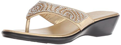 Athena Alexander Women's Shady Wedge Sandal, Gold, 7 M US (Athena Alexander Leather Sandals)