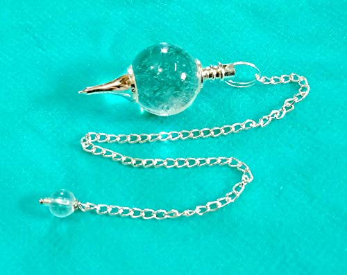 Miran Agate Exports Pendulum, Pendulum Reading Psychic Guidance,Yes or No question Answered,Clear Quartz Dowsing Ball Pendulum with Chain Perfect for Crystal Healing