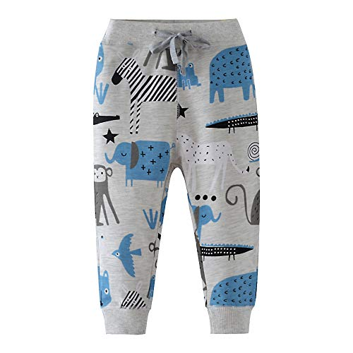 HUAER& Boys Cartoon Print Monkey Dinosaur Camouflage Pattern Cotton Pants Drawstring Elastic Sweatpants (6T(height110-120cm/42-46inch), Light Grey & Animals) ()
