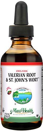 Maxi Health Organic Valerian Root with St. John's Wort - Calming - Berry Flavor - 1 Ounce - Kosher