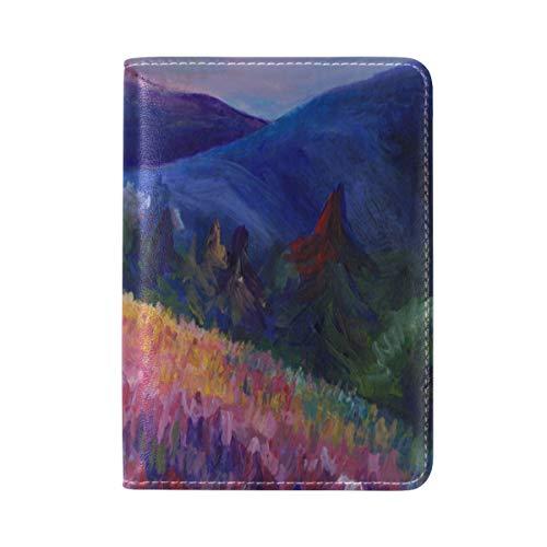 Zlu Sunset-on-mountains-colorful-landscape-acrylic Leather Passport Holder Cover Case Travel One - Landscape Acrylic Holders Information