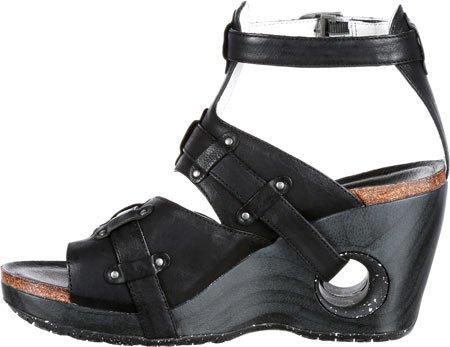 4EurSole Womens Set Free Strappy Wedge Sandal Black Leather 2KJCH