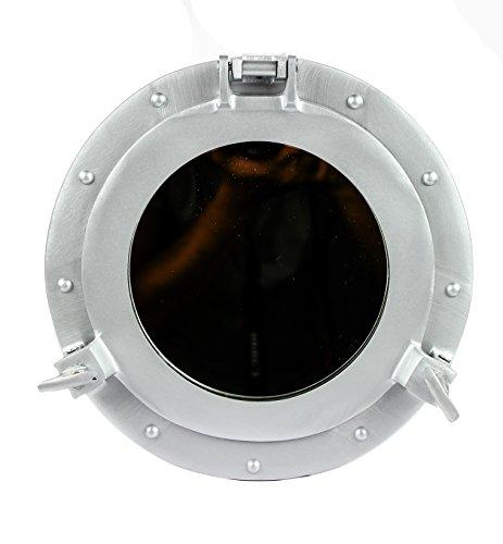 Nagina International Silver Deco Powder Coated Premium Nautical Aluminum Pirate's Ship's Porthole Clock Mirror & Window   Exclusive Wall Decor Accent (20 Inches, Mirror)
