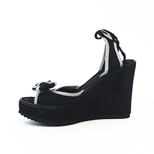Juicy Couture lienzo platformed Sandalia Talla 3,5 Negro - negro