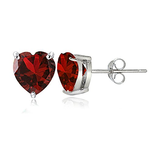 (Sterling Silver Created Ruby 7mm Heart Stud Earrings )