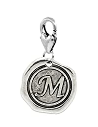 Letter M Initial Wax Stamp Clip Dangle Charm for Bracelets