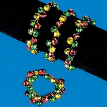 MULTICOLOR JINGLE BELL BRACELETS (1 DOZEN) - BULK