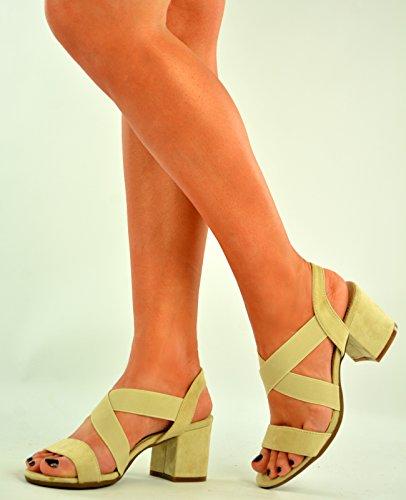 New Womens Ladies Mid Block Heel Ankle Strap Peep Toe Sandal Shoes Size Uk 3-8 Beige BRUyJr2J