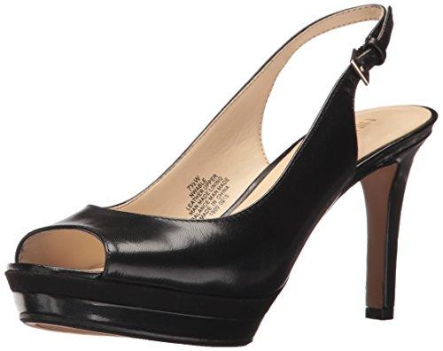 Nine West Women's Able Heeled Sandal, Black Leather, 9 Wide US