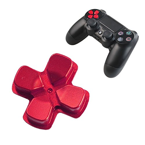 Chrome D-pad PS4 Slim Button Aluminum Custom Metal PS4 Button Playstation 4 DualShock 4 Replacement Buttons Spare Parts Accessories for PS4 Pro Mods Controllers Bullet Red