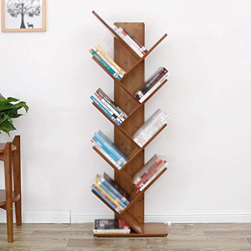 (QiXian Shelves Organizer for Books Bookcase Bookshelf Ends Bamboo Tree Simple Living Room Study Office Modern Contemporary Minimalist Strong Sturdy, 5-Tier)