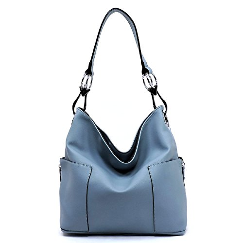 Buckle Large Hobo (Americana Bucket Style Hobo Shoulder Bag with Big Snap Hook Hardware and Side Zipper Pocket)