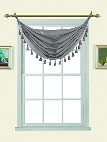 (GorgeousHome (M12) Silver 1pc Solid Elegant Faux Silk Swag Waterfall Antique Grommets Dressing Small Window Valance, w/Fringes Tassel 50