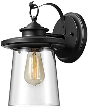 Globe Electric 44170 Valmont 13 1-Light Outdoor Wall Sconce with Black Finish Clear Glass Shade