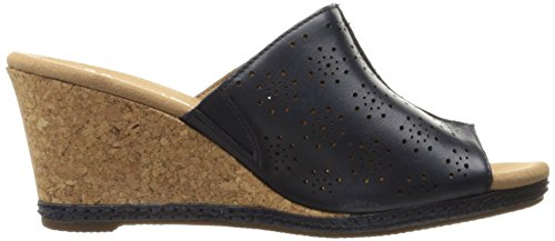 CLARKS Women's Helio Corridor Wedge Sandal Navy Leather clearance 2015 new tf8JVa1Ne4