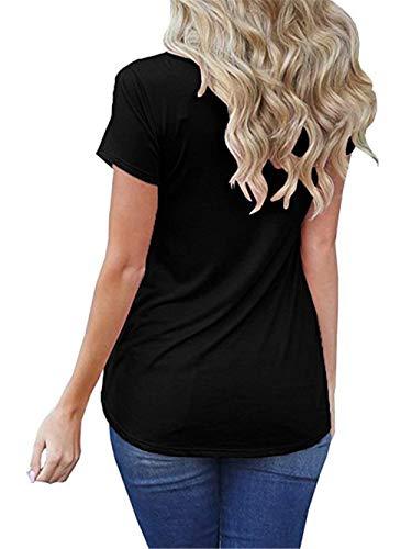 Tshirt Branch Col Manches lgant Mode Confortable Femme Trous T Fit Top Shirts Manche Shirt Courtes Rond Slim Et Schwarz Poches Avant Uni breal HHrSqwgn
