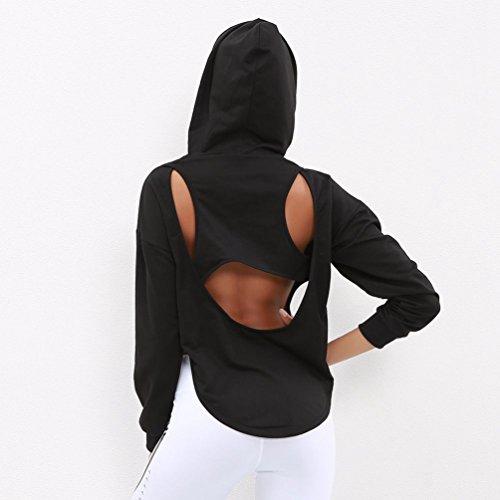 Nero Attraversa Maniche ZKOO con Sportiva Donne Pullovers Cappuccio Sexy Schiena Nero La Felpa Lunghe Felpe 66YRq1
