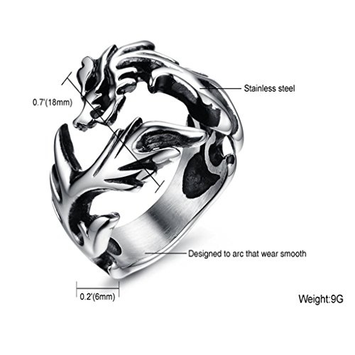 MoAndy Jewelry Stainless Steel Punk Rock Dragon Men's Band Rings,US Size 9