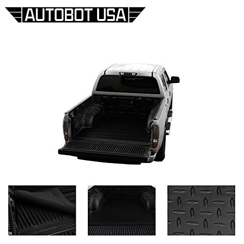 (Autobotusa Black Finished 99-16 for Ford F250 / F350 / F450 8 Ft Long Truck Bed Rubber Diamond Floor Mat Carpet)