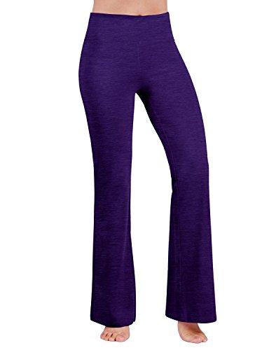 ODODOS Power Reflex Boot Cut Yoga Pants Tummy Control Workout Running 4 way Stretch Boot Leg Yoga Pantss With Hidden Pocket,Purple,X-Large