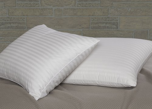 Dreamstead by Cuddledown Classic 600FP Duck Down Soft Hypoallergenic Pillow, Standard, Damask Stripe