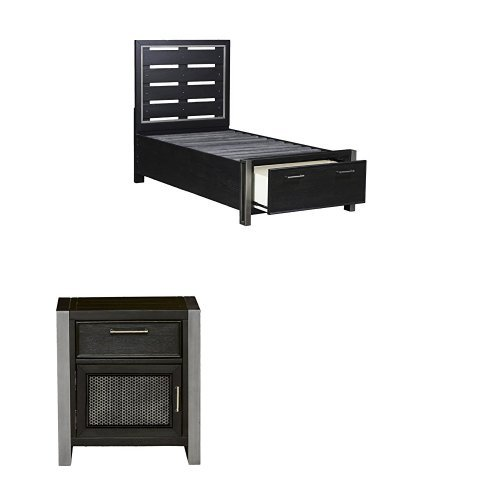 Pulaski  Graphite Youth Twin Bed with Two Nightstands